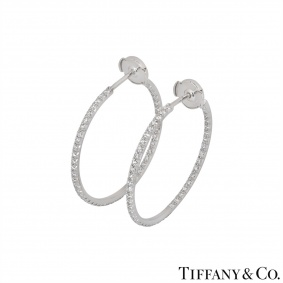 Tiffany & Co. White Gold Diamond Hoop Earrings